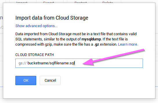 Google Cloud SQL - How to import an existing database (6/6)
